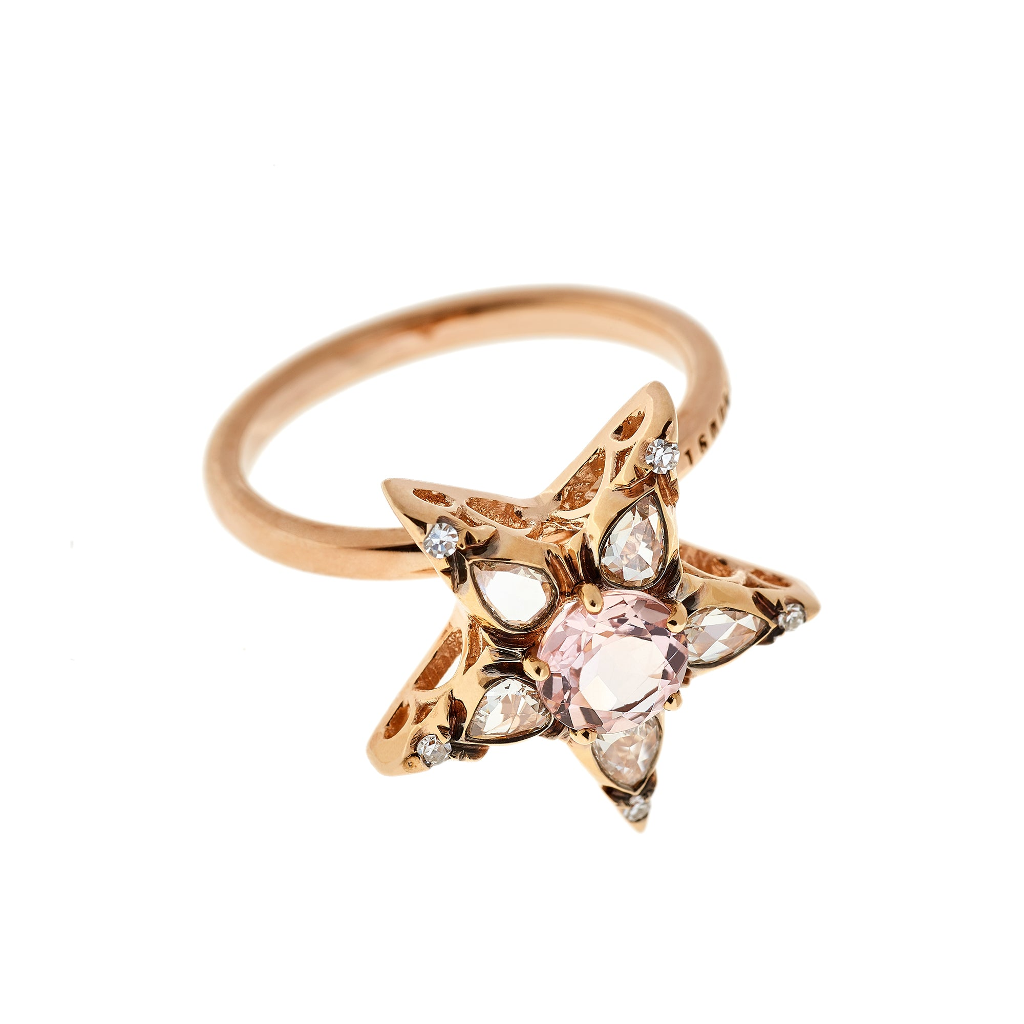 Morganite and Diamond Star Ring by Selim Mouzannar for Broken English Jewelry