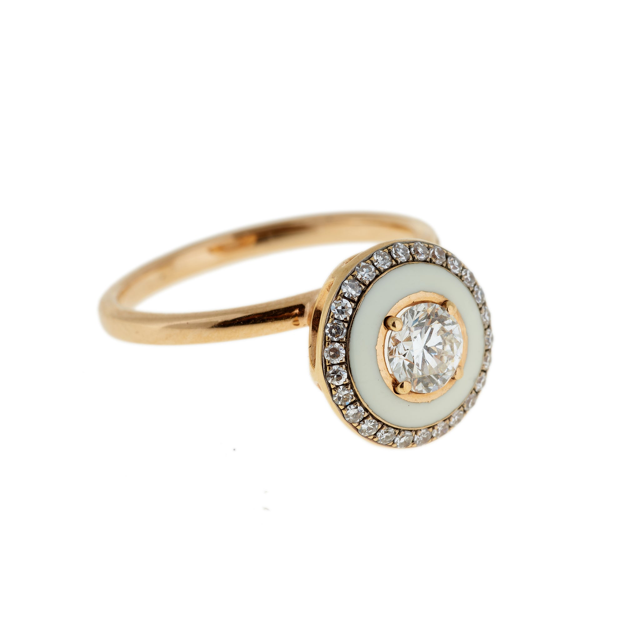 Diamond and Ivory Enamel Ring by Selim Mouzannar for Broken English Jewelry