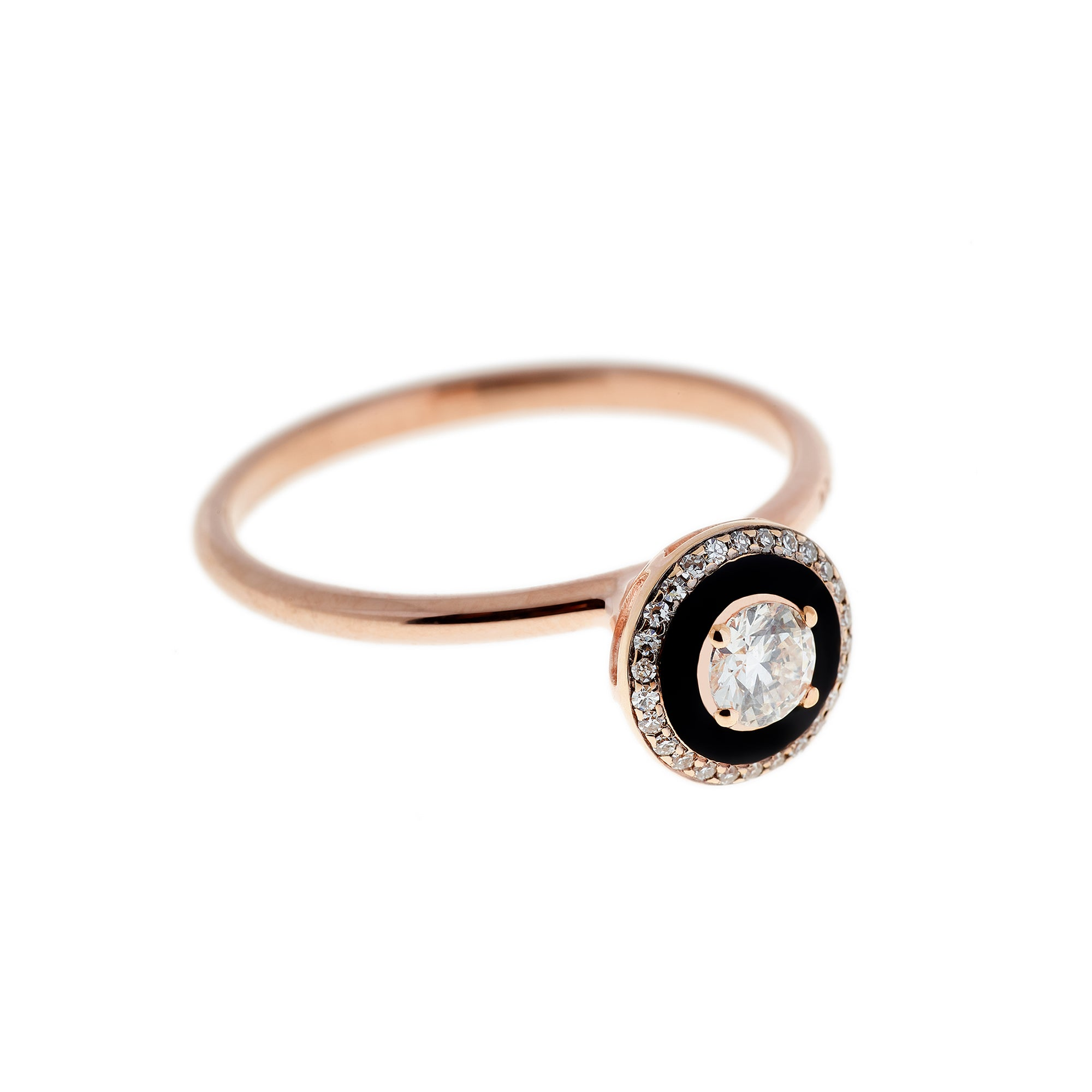 Diamond and Black Enamel Ring by Selim Mouzannar for Broken English Jewelry