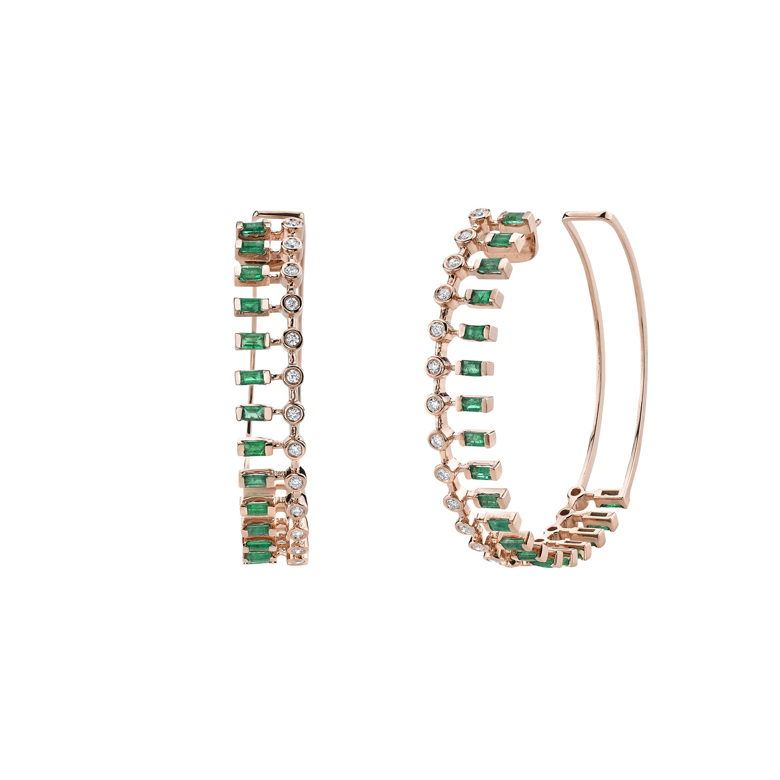 Shay Dot Dash Diamond & Emerald Hoops - Rose Gold - Earrings - Broken English Jewelry