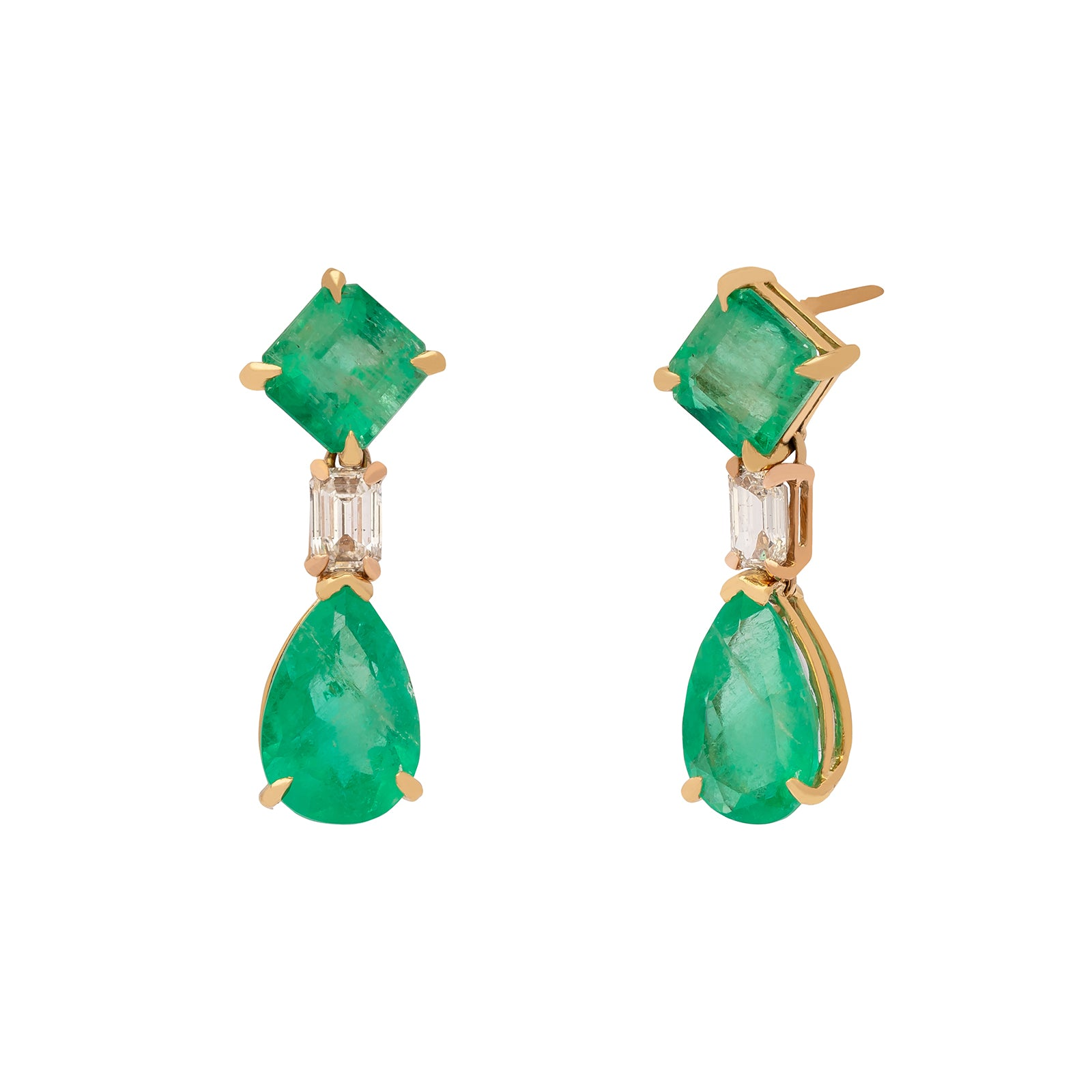 Shay Columbian Green Emerald & Diamond Drop Earrings - Earrings - Broken English Jewelry