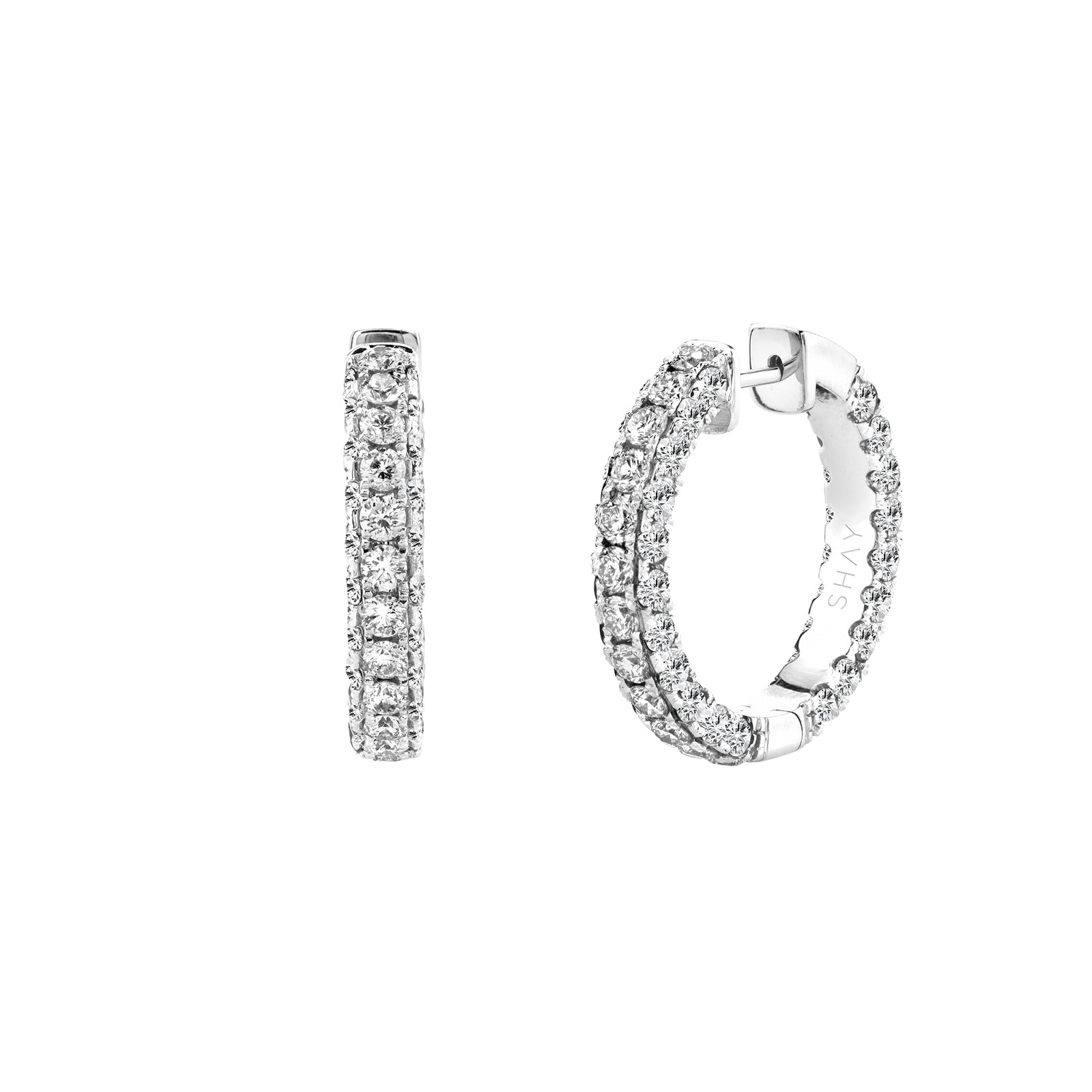 Shay 3 Sided Diamond Hoops - White Gold - Earrings - Broken English Jewelry