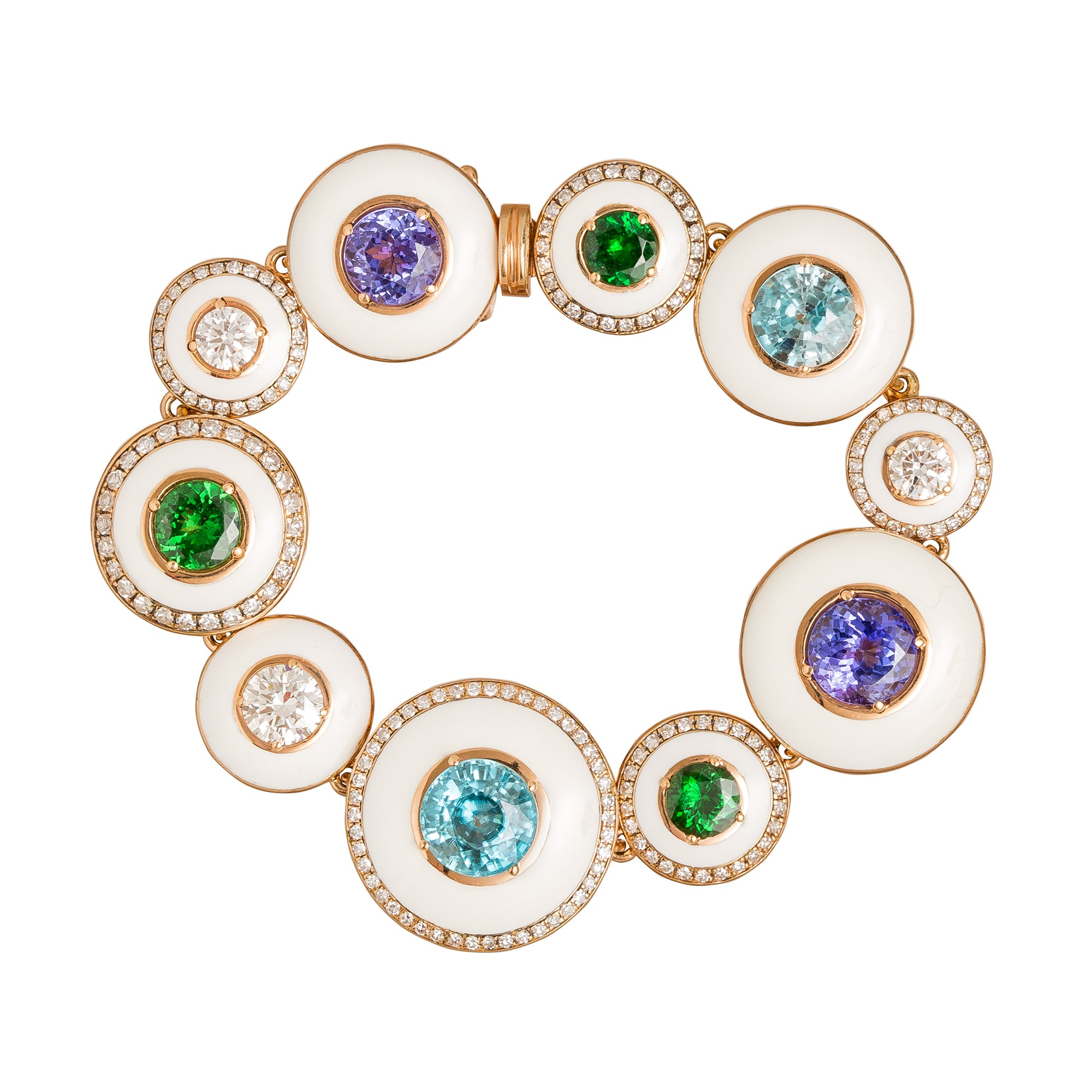 White DIamond and Ivory and Tanzanite and Tsavorite and Blue Hyacinth Mina Bracelet - Selim Mouzannar - Bracelet | Broken English Jewelry