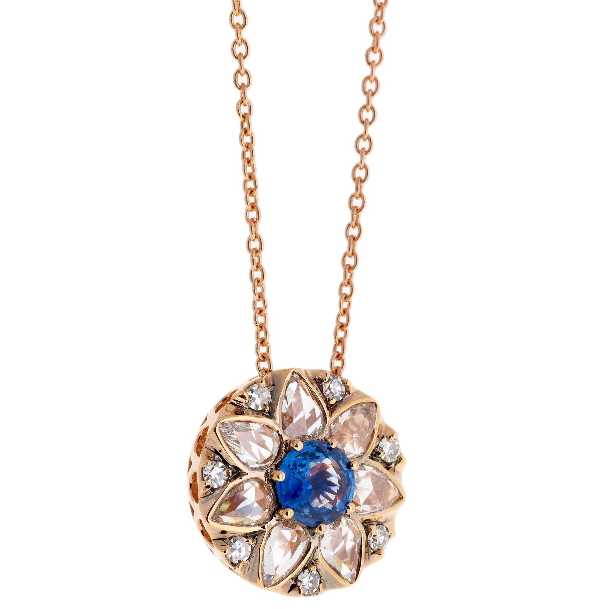 Diamond & Blue Sapphire Necklace by Selim Mouzannar for Broken English Jewelry