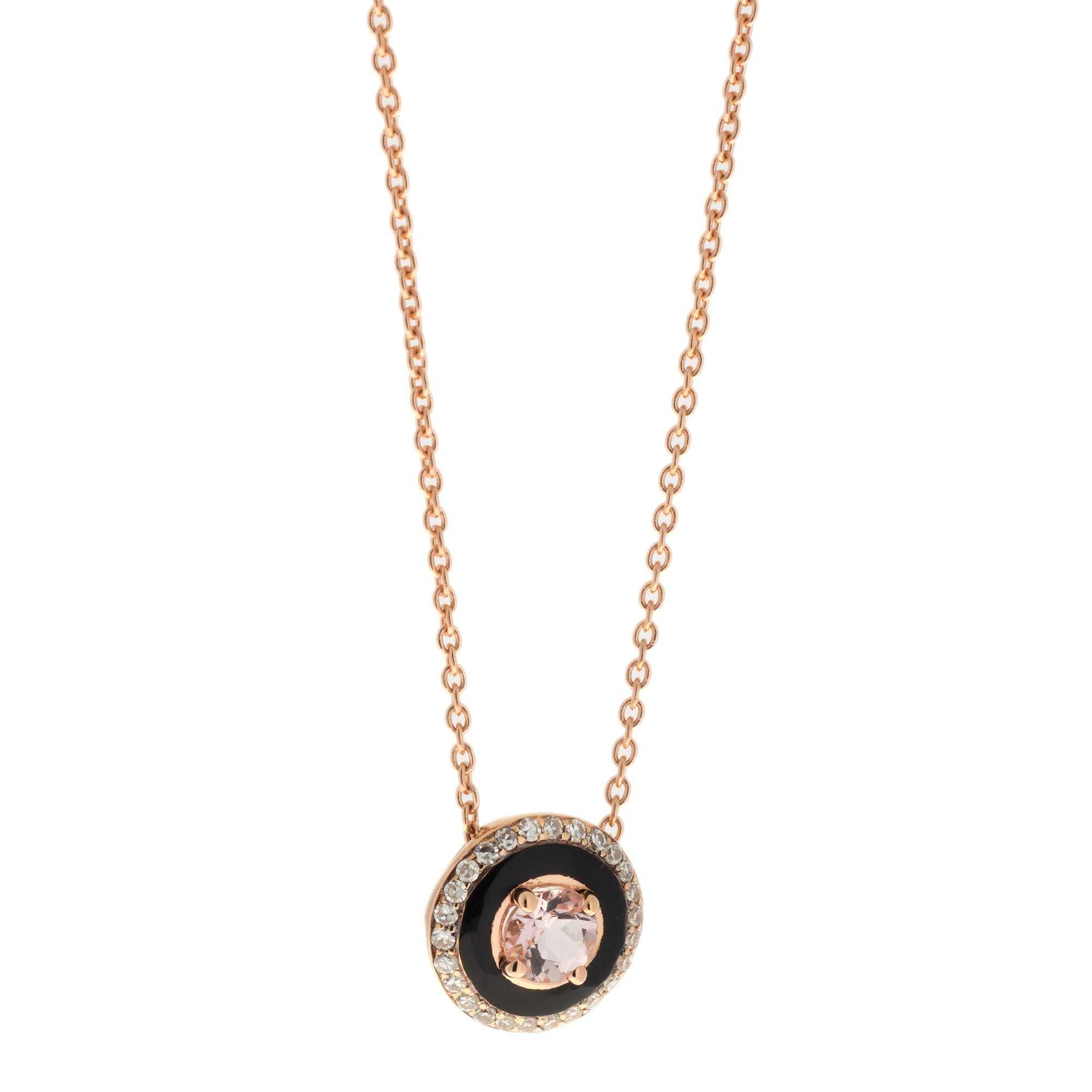 Morganite and Black Enamel Necklace by Selim Mouzannar for Broken English Jewelry