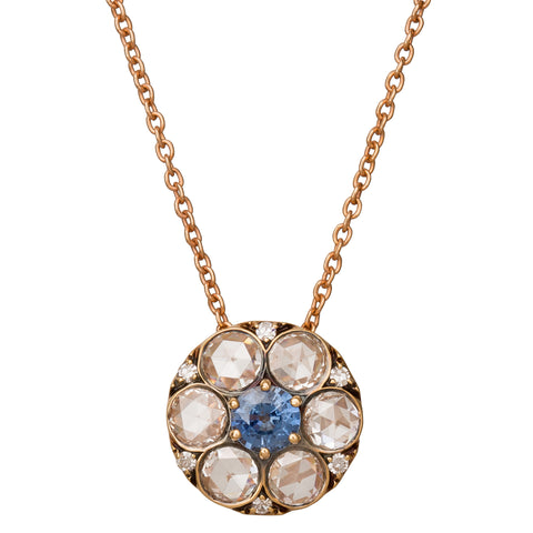 Small Blue Sapphire and White Diamonds Beirut Pendant Necklace