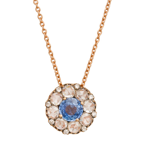 Large Blue Sapphire and White Diamonds Beirut Pendant Necklace - Selim Mouzannar - Necklace | Broken English Jewelry
