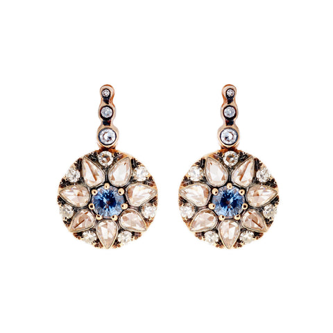 Diamond & Blue Sapphire Earrings by Selim Mouzannar for Broken English Jewelry