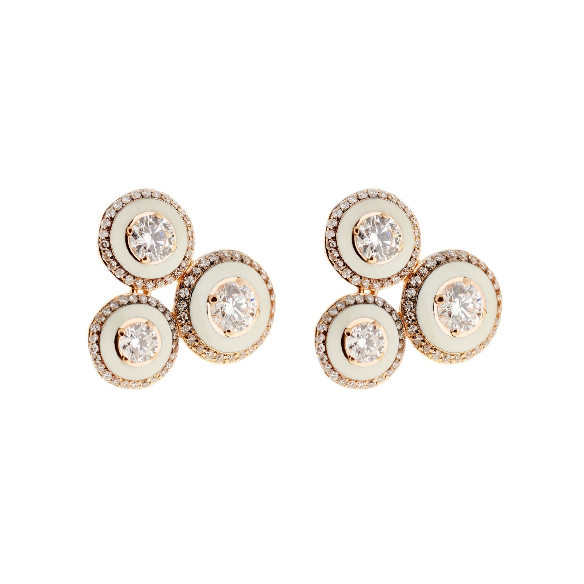 Diamond and Ivory Enamel Studs by Selim Mouzannar for Broken English Jewelry