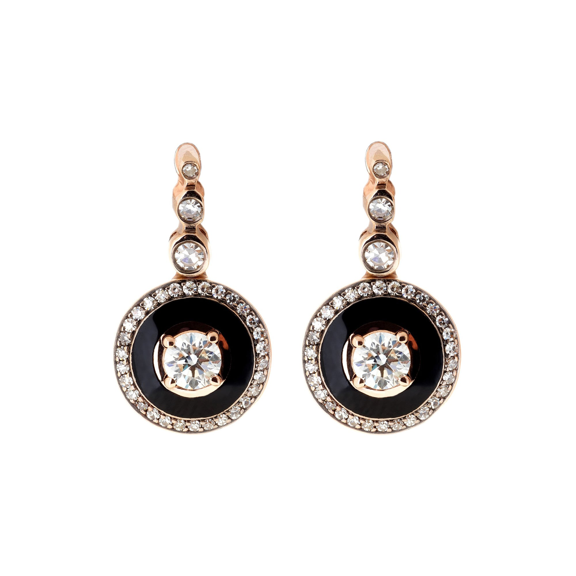 Diamond and Black Enamel Earrings by Selim Mouzannar for Broken English Jewelry