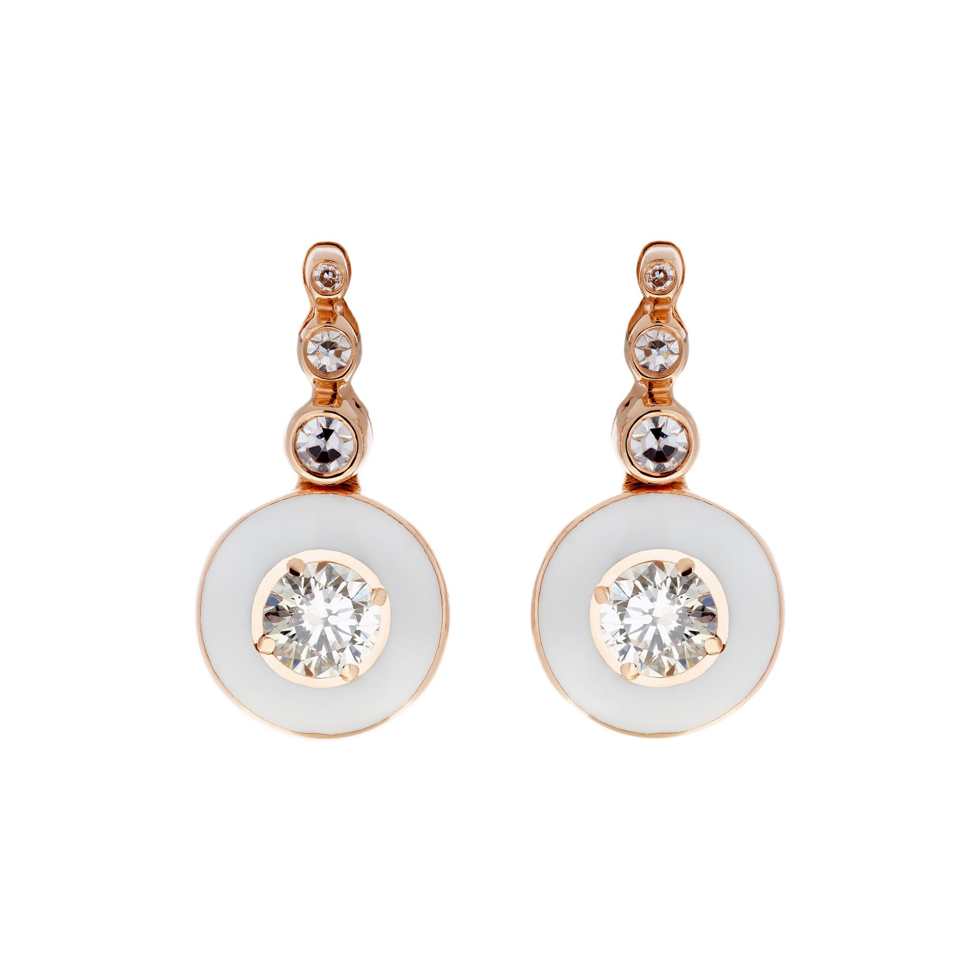 Diamond and Ivory Enamel Earrings by Selim Mouzannar for Broken English Jewelry