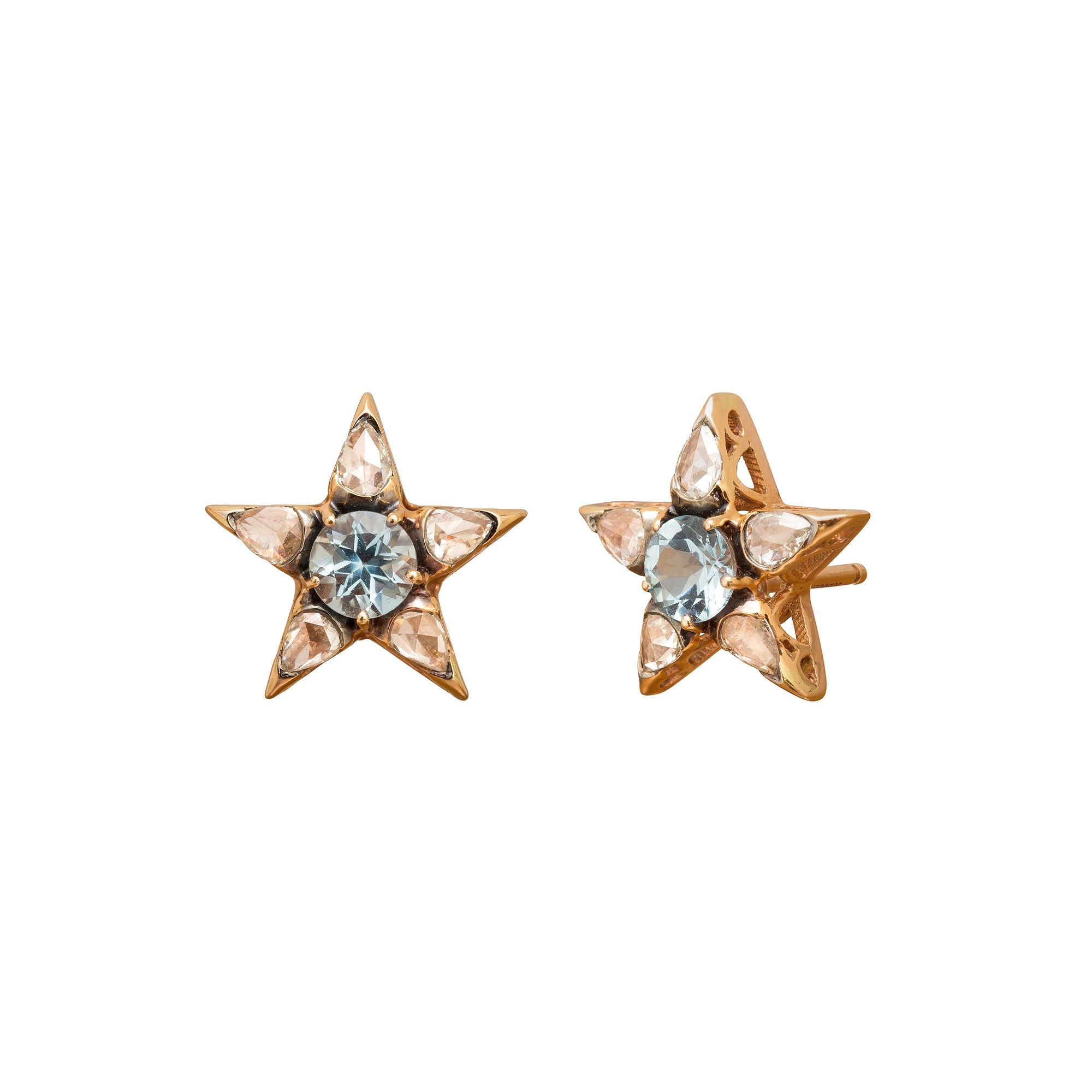 Istanbul Aquamarine Star Earrings by Selim Mouzannar for Broken English Jewelry