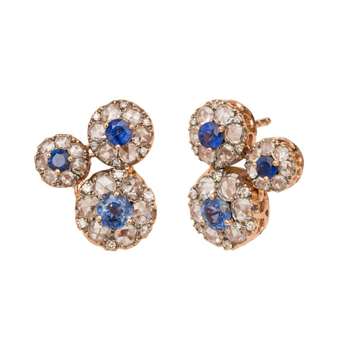 Blue Sapphire and White Diamonds Beirut Earrings - Selim Mouzannar - Earrings | Broken English Jewelry