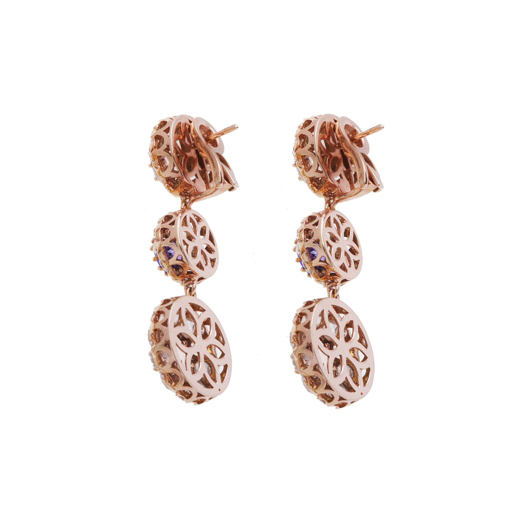 Triple Drop Stone & Diamond Earrings