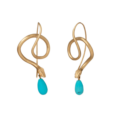 Turquoise Serpent Earrings