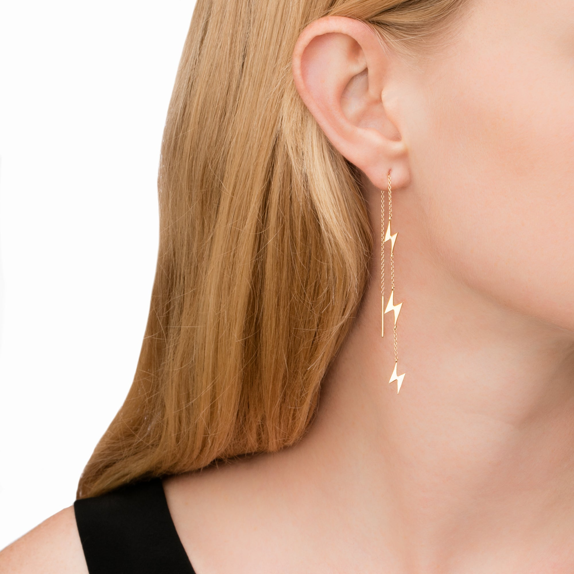 Lightning Bolt Pull Through Earring - Suel - Earrings | Broken English Jewelry
