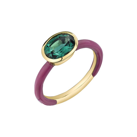 Gold Green Quartz Enamel Ring by sara hendler for broken english jewelry