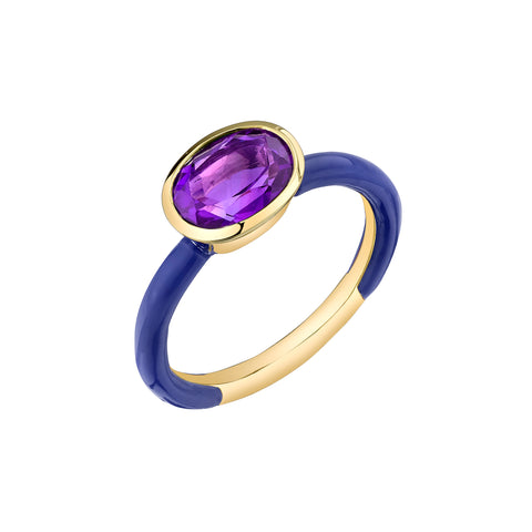 Gold Amethyst & Enamel Ring by sara hendler for broken english jewelry