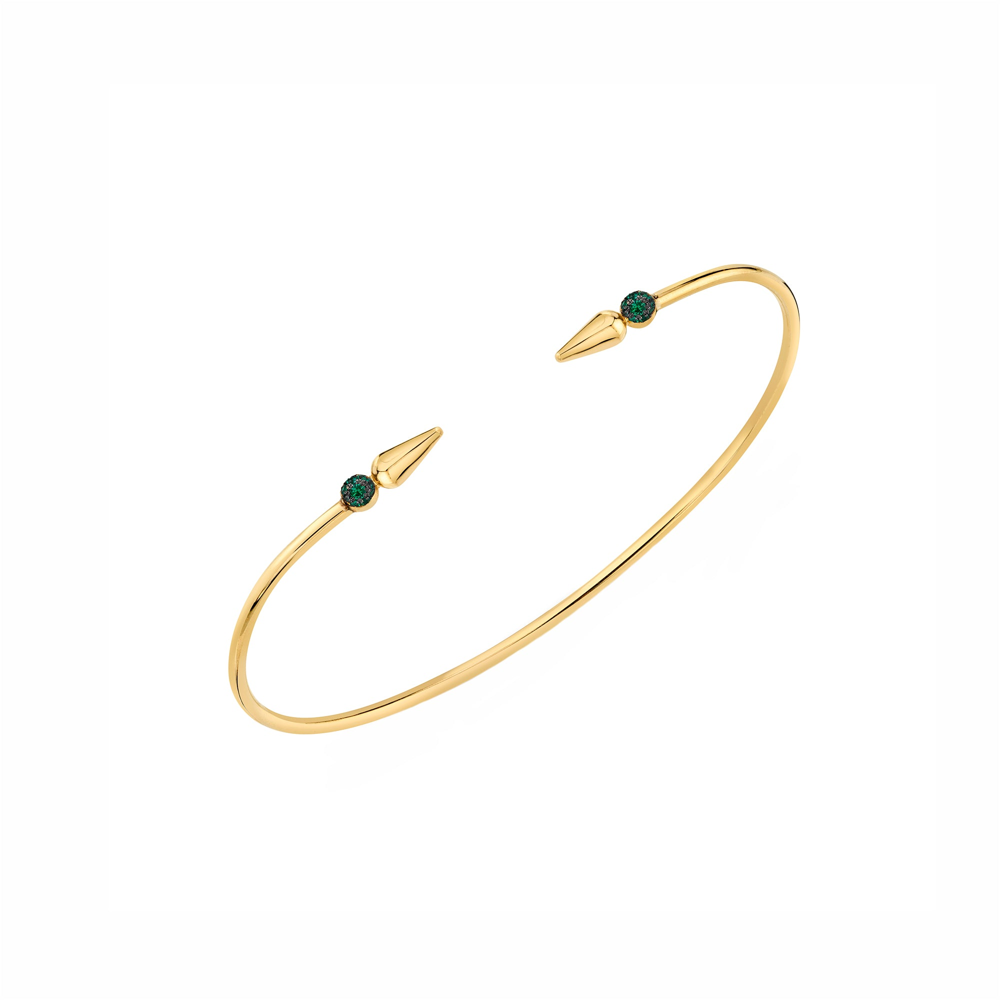 Pave Spear Center Bangle - Emerald - Sarah Hendler - Bracelets | Broken English Jewelry