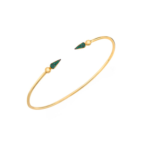 Pave Spear Tip Bangle - Emerald - Sarah Hendler - Bracelets | Broken English Jewelry