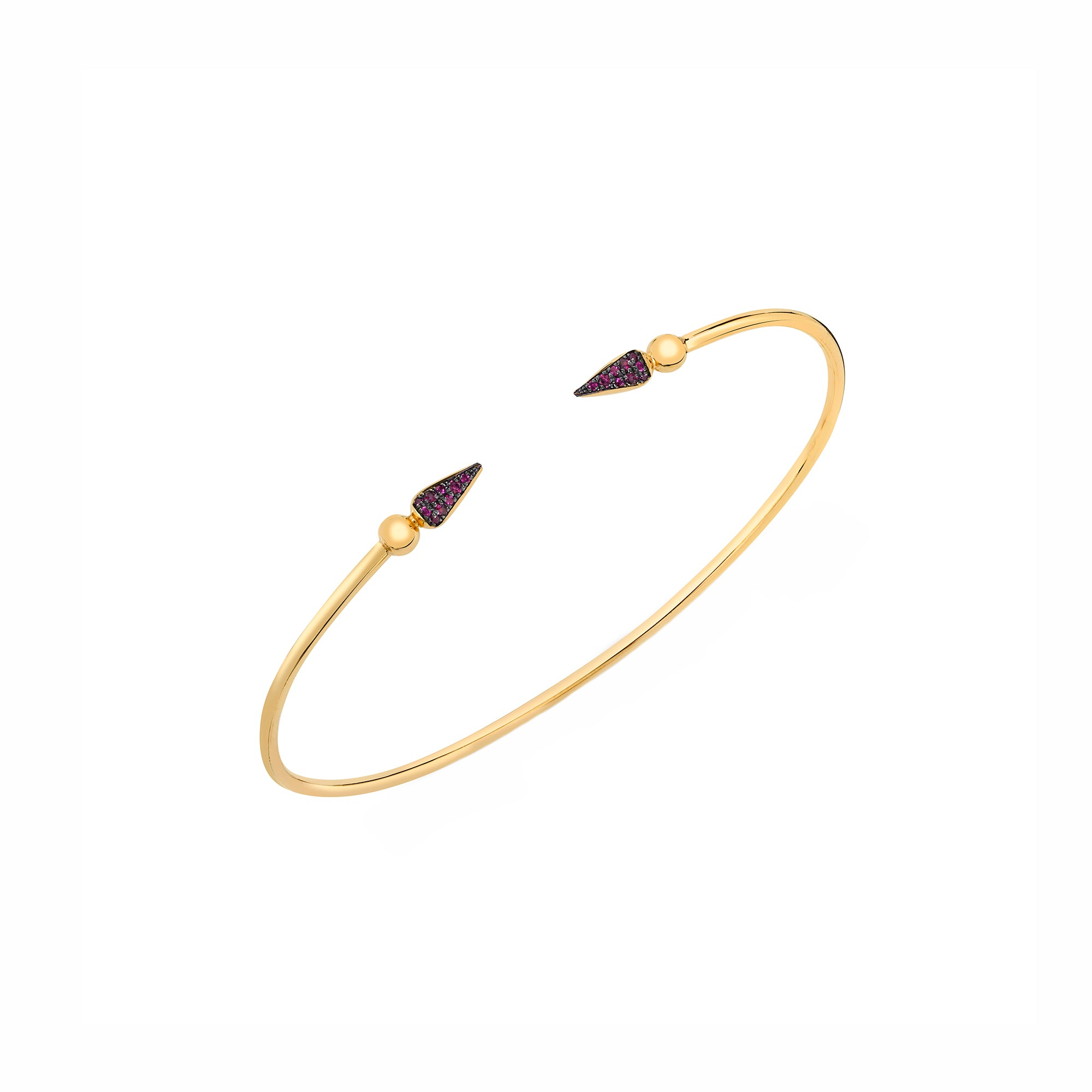 Pave Spear Tip Bangle - Ruby - Sarah Hendler - Bracelets | Broken English Jewelry