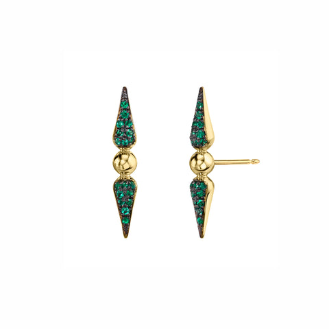 Pave Tip Spear Studs - Emerald - Sarah Hendler - Earrings | Broken English Jewelry