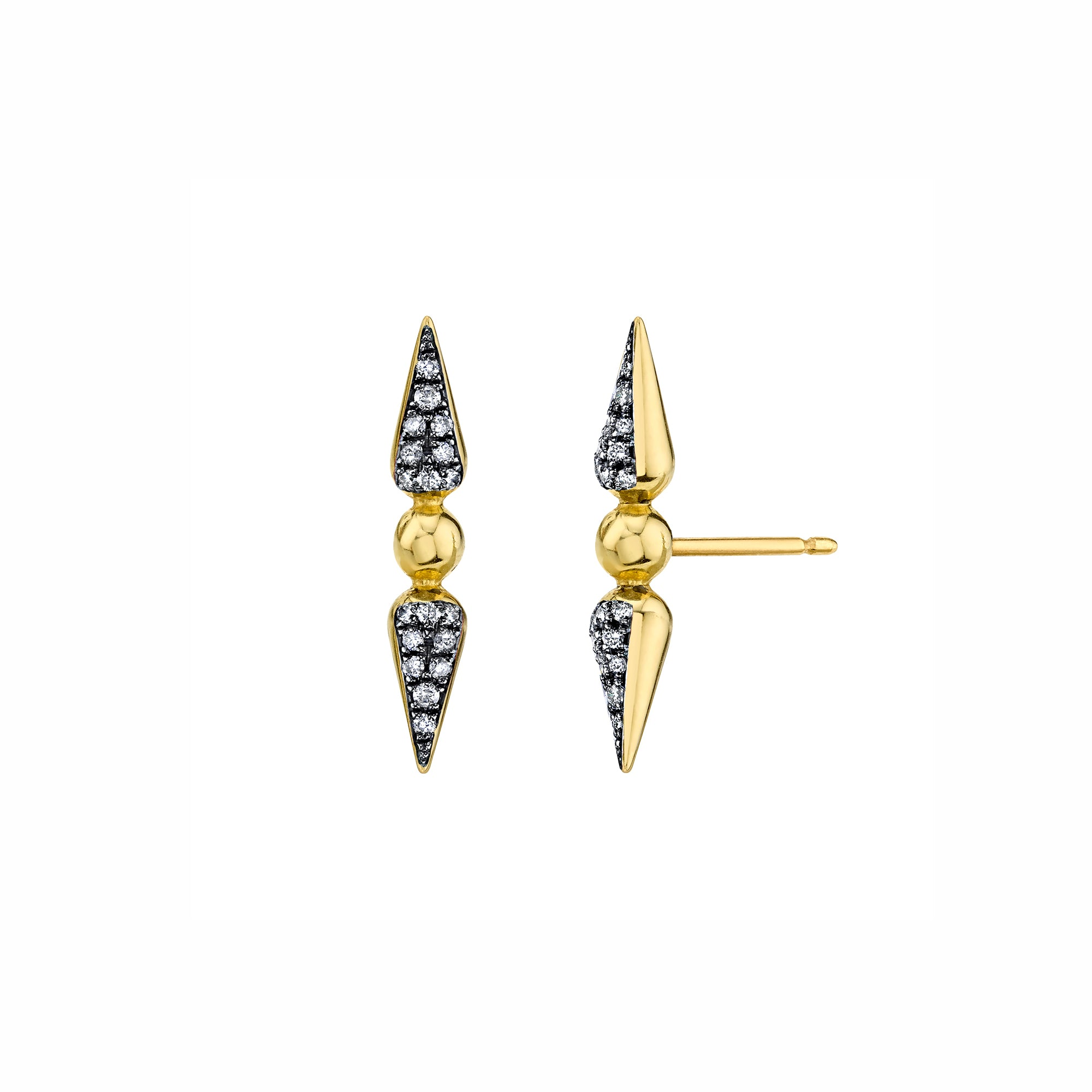 Pave Tip Spear Studs - Diamond - Sarah Hendler - Earrings | Broken English Jewelry