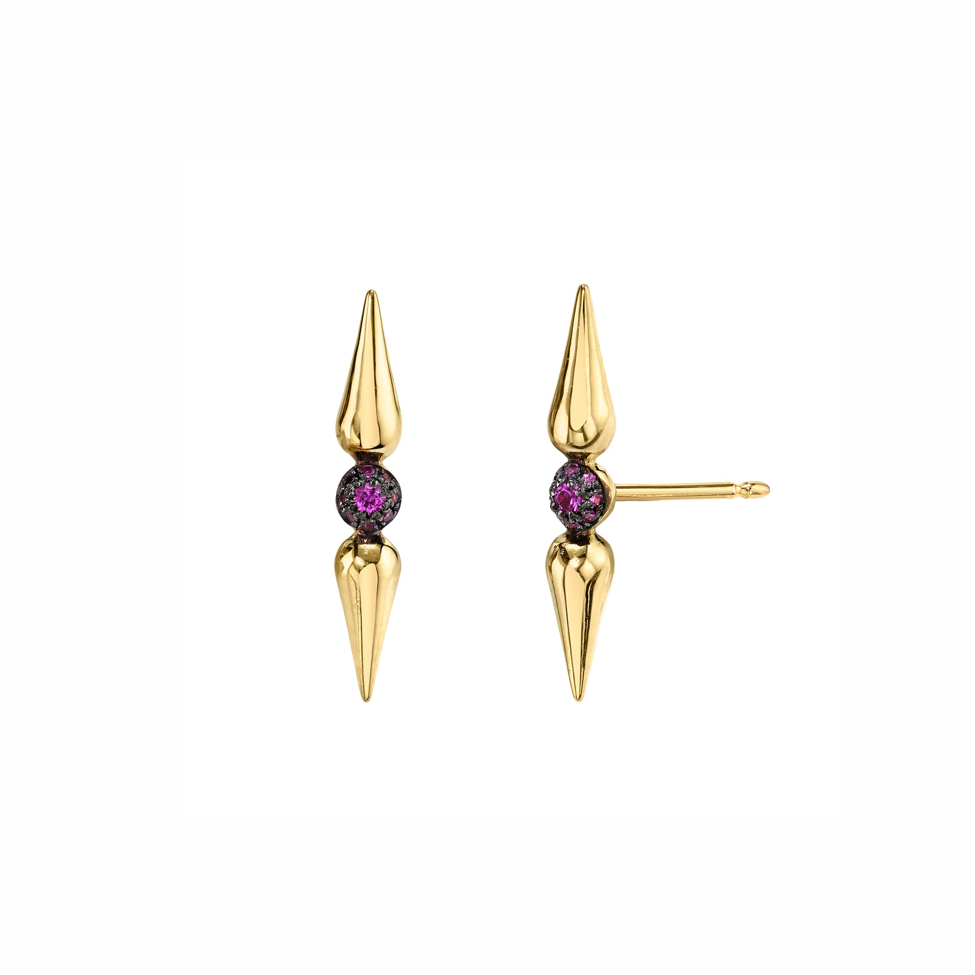 Pave Center Spear Studs - Pink Sapphire - Sarah Hendler - Earrings | Broken English Jewelry