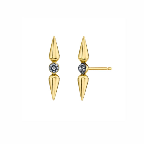 Pave Center Spear Studs - Diamond - Sarah Hendler - Earrings | Broken English Jewelry