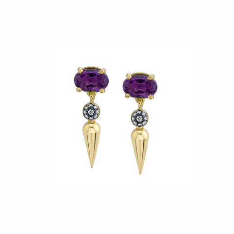 Pave Center Spear Dangle Studs - Purple Amethyst - Sarah Hendler - Earrings | Broken English Jewelry