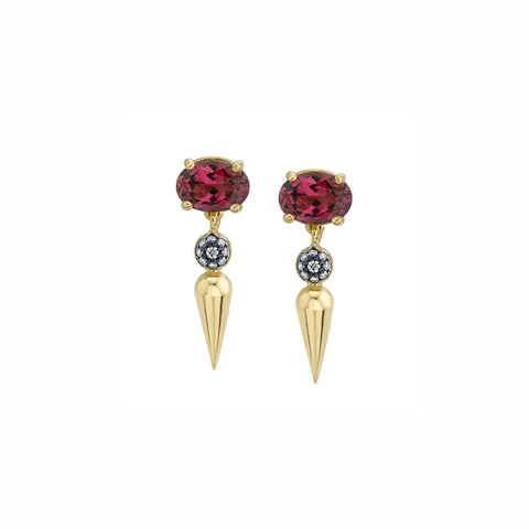 Pave Center Spear Dangle Studs - Rhodolite - Sarah Hendler - Earrings | Broken English Jewelry