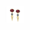 Pave Center Spear Dangle Studs - Rhodolite