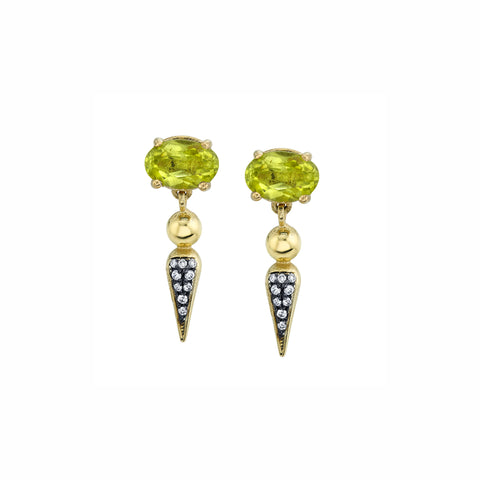 Pave Spear Tip Dangle Studs - Peridot - Sarah Hendler - Earrings | Broken English Jewelry