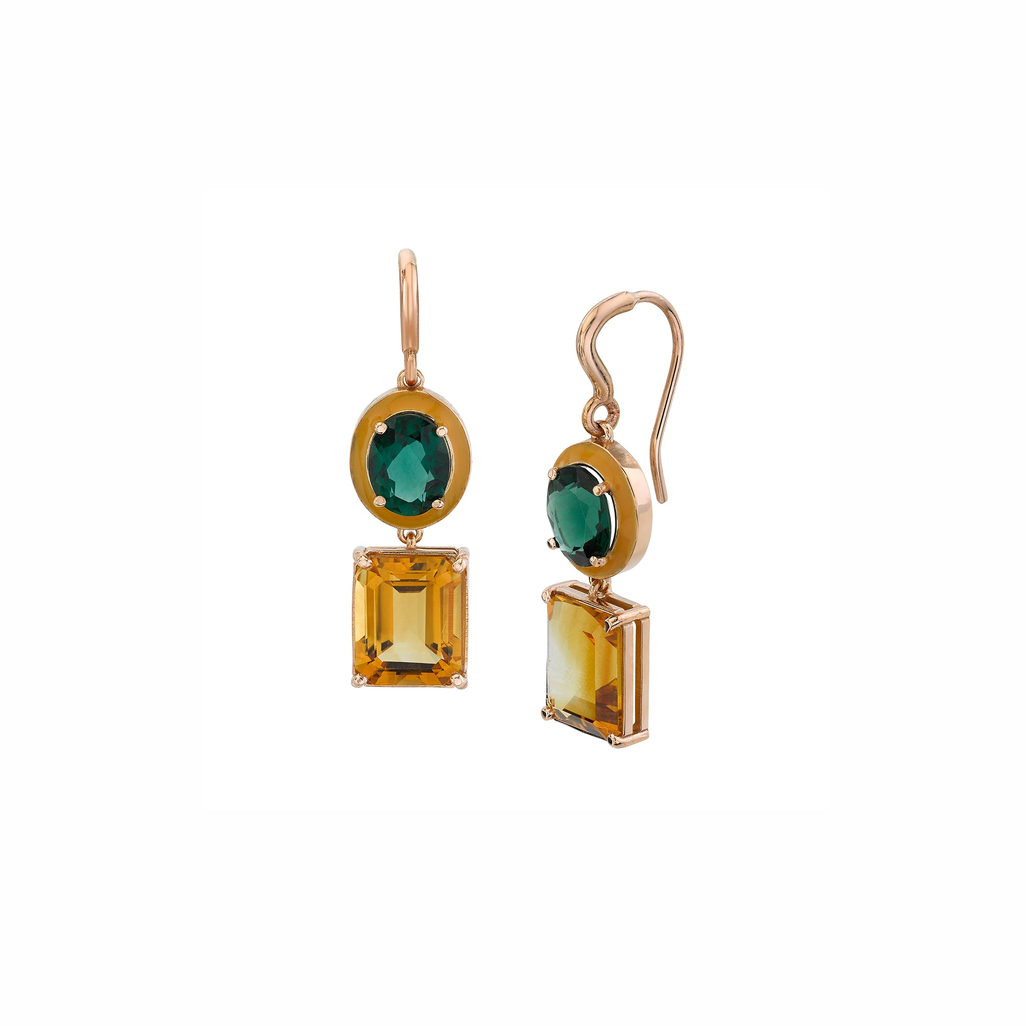 Small Gaga Enamel Gemstone Earrings - Green Topaz/Citrine - Sarah Hendler - Earrings | Broken English Jewelry