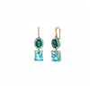 Small Gaga Enamel Gemstone Earrings - Green Topaz/Swiss Blue Topaz - Sarah Hendler - Earrings | Broken English Jewelry