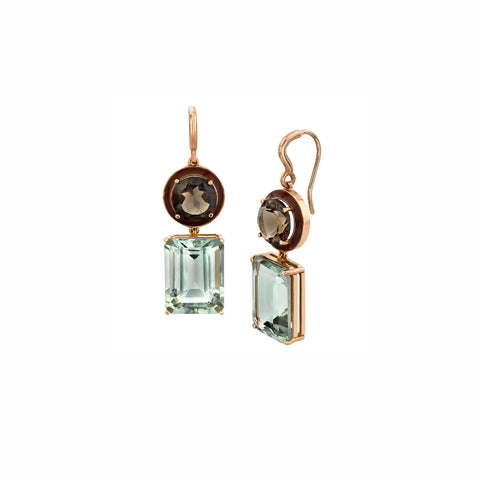 Large Gaga Enamel Gemstone Earrings - Smoky Quartz/Green Amethyst - Sarah Hendler - Earrings | Broken English Jewelry