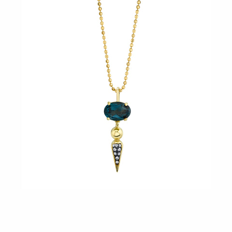 Pave Spear Tip Pendant - London Blue Topaz - Sarah Hendler - Necklaces | Broken English Jewelry