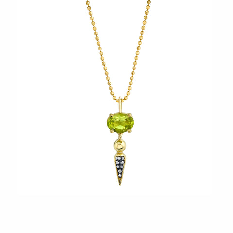 Pave Spear Tip Pendant - Peridot - Sarah Hendler - Necklaces | Broken English Jewelry
