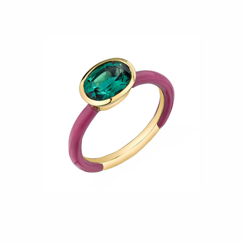 Enamel Shirley Bezel Set Oval Ring - Green Topaz - Sarah Hendler - Rings | Broken English Jewelry