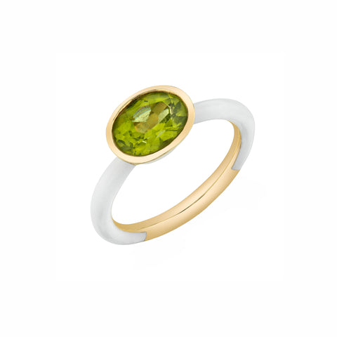 Enamel Shirley Bezel Set Oval Ring - Peridot - Sarah Hendler - Rings | Broken English Jewelry