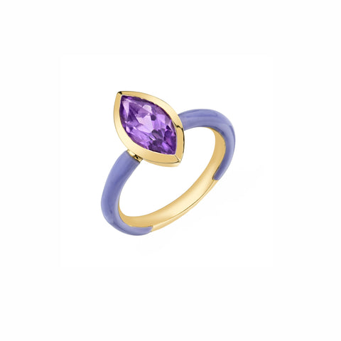 Enamel Shirlely Bezel Set Marquis Ring - Purple Amethyst - Sarah Hendler - Rings | Broken English Jewelry