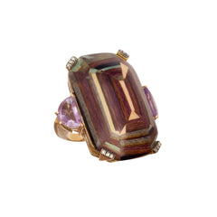 Gold Light Brown Wood Marquetry Amethyst Ring By Silvia Furmanovich For Broken English