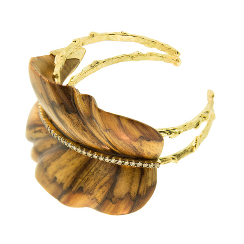 Marquetry Brown Leaf Cuff - Silvia Furmanovich - Bracelet | Broken English Jewelry