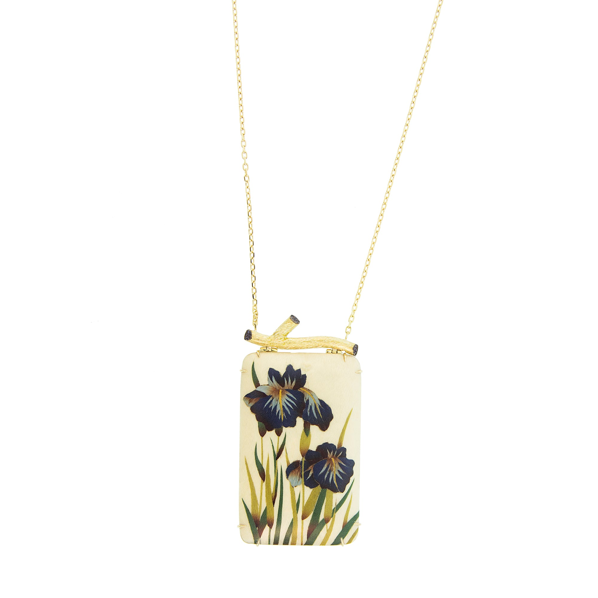 Marquetry Blue Orchid Necklace by Silvia Furmanovich for Broken English jewelry