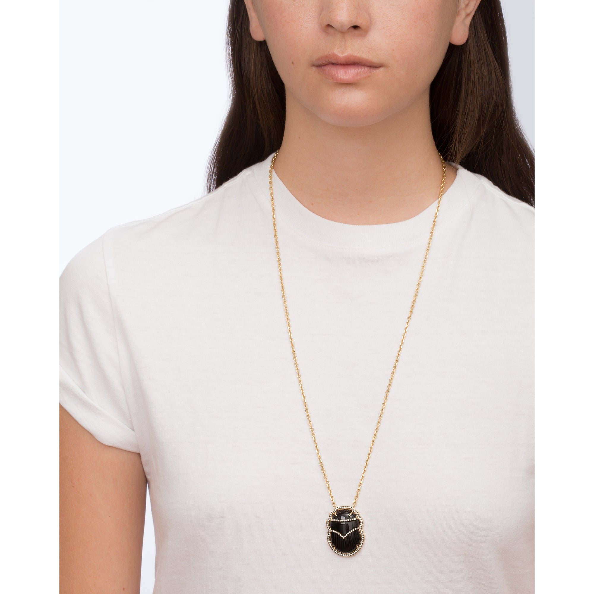 Gold Diamond Black Scarab Necklace By Silvia Furmanovich For Broken English Jewlery