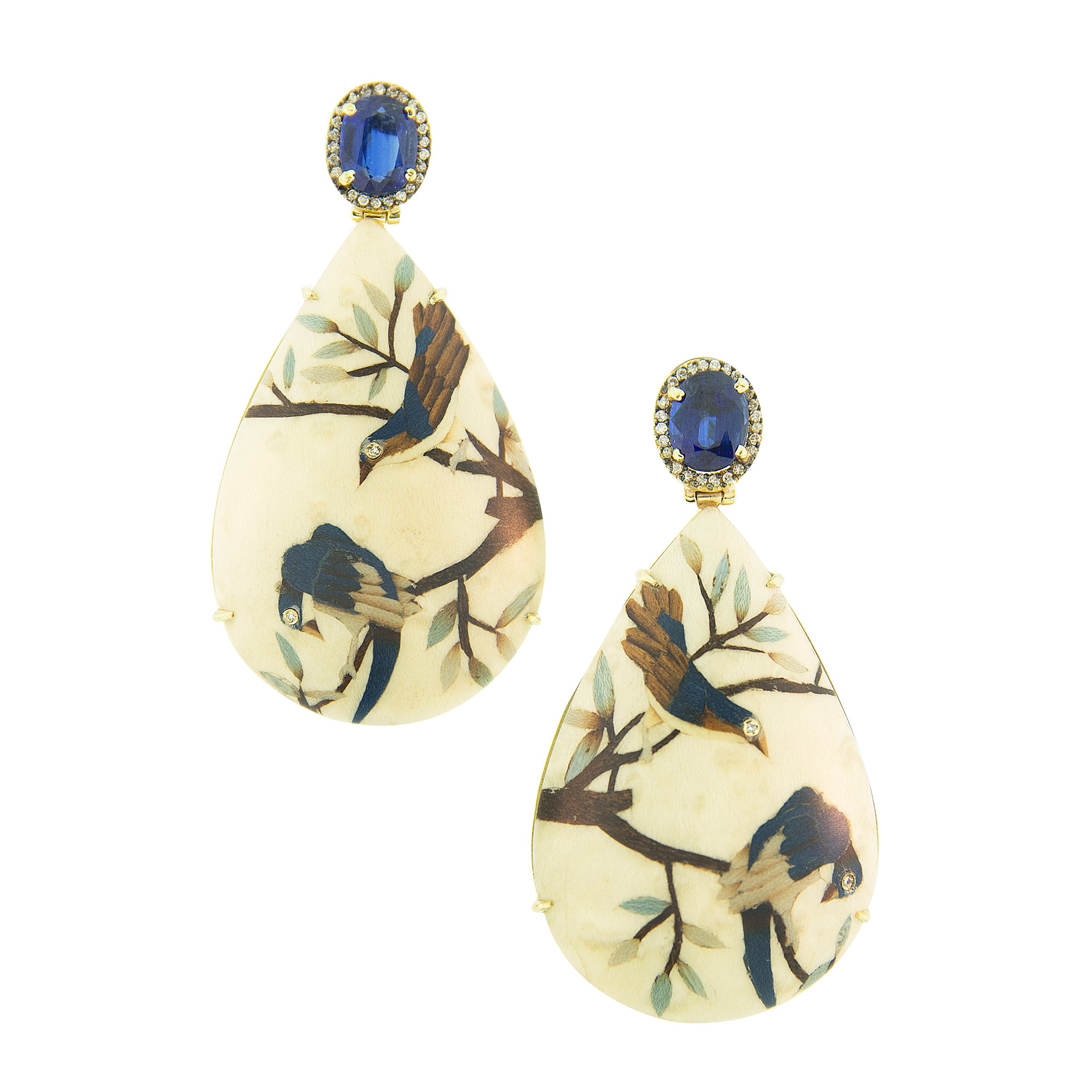 Marquetry Bird Earrings by Silvia Furmanovich for Broken English Jewelry