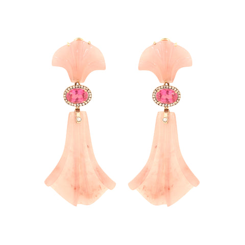 Pink Tourmaline Light Brown Diamond Carved Grape Quartz Earrings By Silvia Furmanovich For Broken English Jewlery