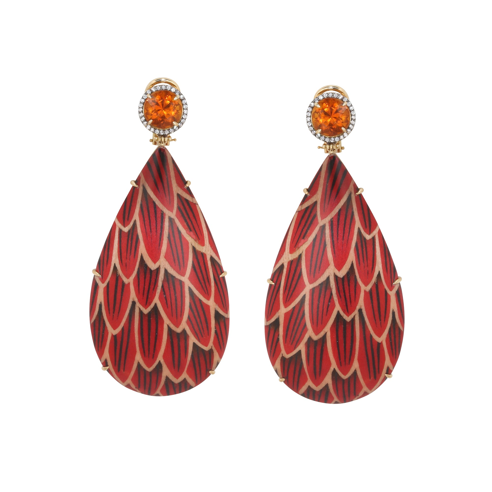 Wood Citrine Diamond Marquetry Red Scale Drop Earrings By Silvia Furmanovich for Broken English Jewlery