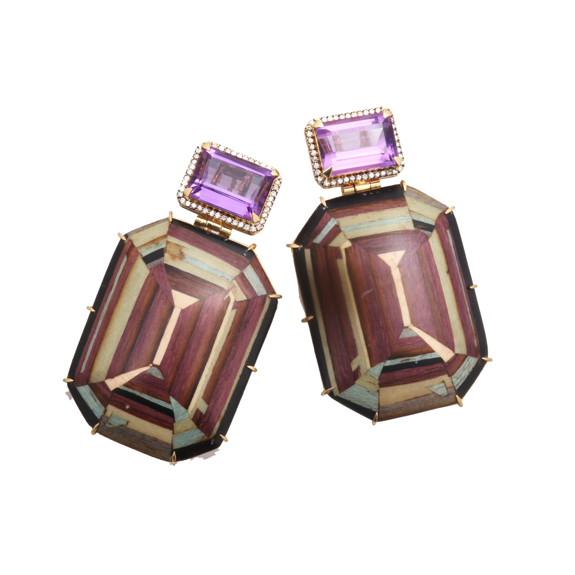 Amethyst and Diamond Marquetry Earrings by Silvia Furmanovich for Broken English Jewlery