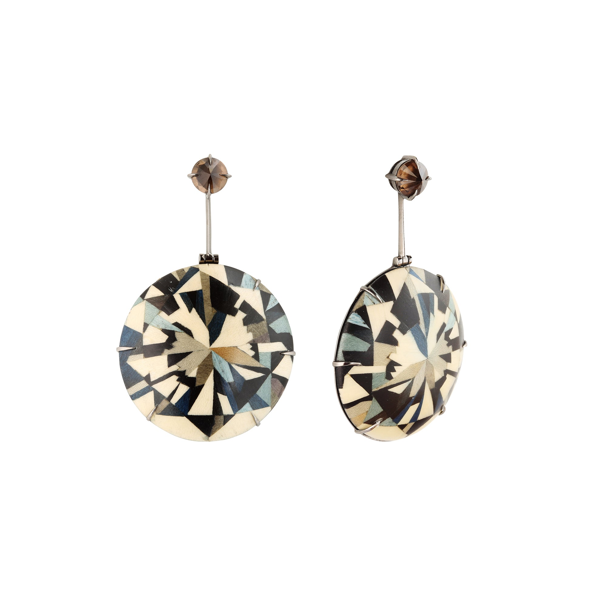 Wood Gold Quartz Marquetry Geometric Round Wood Earrings By Silvia Furmanovich For Broken English Jewlery